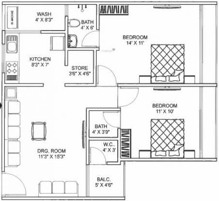 Unity Yasrab Residency (2BHK+2T (618.06 sq ft) Apartment 618.06 sq ft)