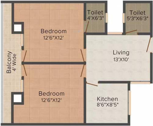 Smart Infra Saras Shree Bala Ji Tower (2BHK+2T (1,040 sq ft) Apartment 1040 sq ft)
