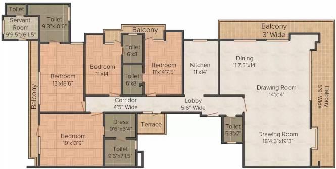 Orange And White S 491 (4BHK+4T (2,800 sq ft) Apartment 2800 sq ft)