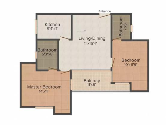 N K Homes 7 (2BHK+2T (1,000 sq ft) Apartment 1000 sq ft)