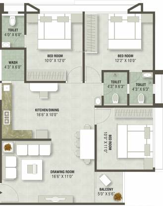 Altair Baagban Elite Block H I And J K  (3BHK+3T (792.55 sq ft) Apartment 792.55 sq ft)