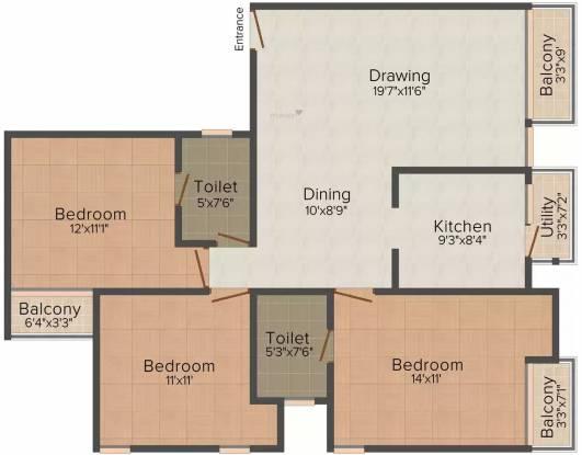 Jeet Home Rivera (3BHK+3T (1,380 sq ft) Apartment 1380 sq ft)