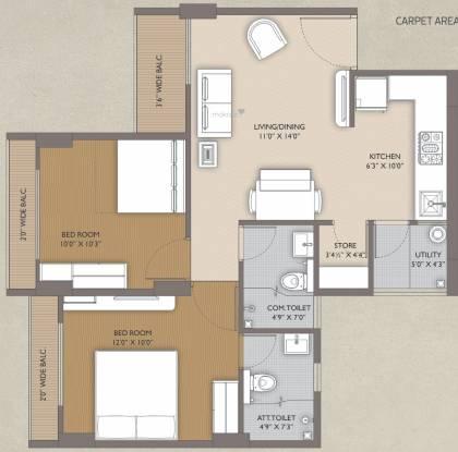 Aatmiya Sanskar Residency (2BHK+2T (537.66 sq ft) Apartment 537.66 sq ft)