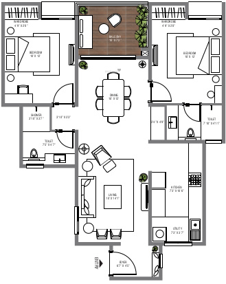 APG Atmos And Aura Phase 1 (2BHK+2T (1,172 sq ft) Apartment 1172 sq ft)