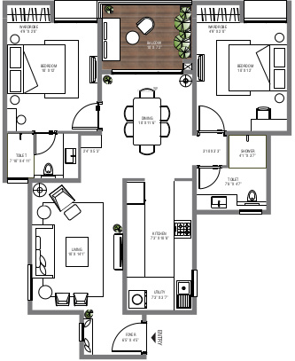 APG Atmos And Aura Phase 1 (2BHK+2T (1,177 sq ft) Apartment 1177 sq ft)