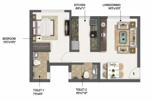 Sumer Life (1BHK+1T (454.99 sq ft) Apartment 454.99 sq ft)