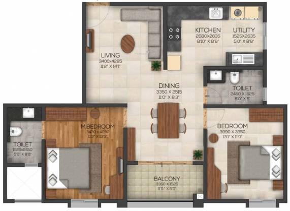 Mysore Tranquil At Brigade Cornerstone Utopia (2BHK+2T (1,256 sq ft) Apartment 1256 sq ft)