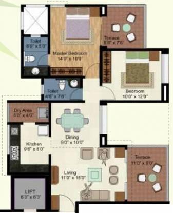 Kolte Patil Green Olive (2BHK+2T (1,012 sq ft) Apartment 1012 sq ft)