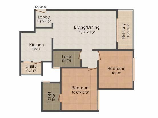 Pride Springfields (2BHK+2T (929 sq ft) Apartment 929 sq ft)