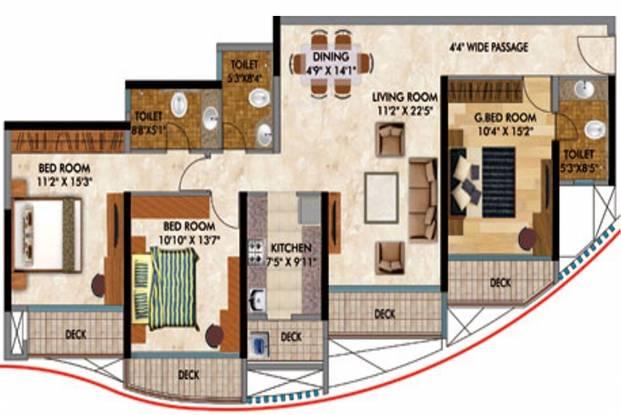 RNA Continental (3BHK+3T (1,310 sq ft) Apartment 1310 sq ft)
