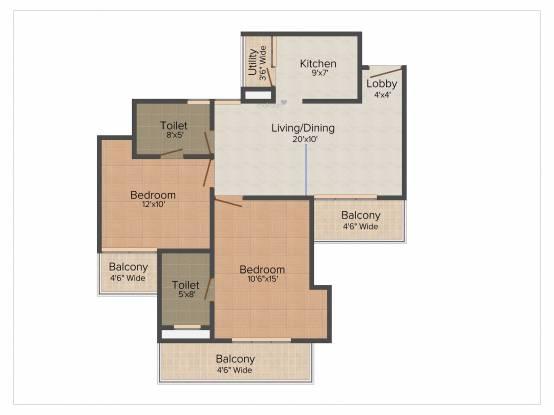 Amrapali Eden Park (2BHK+2T (1,140 sq ft) Apartment 1140 sq ft)