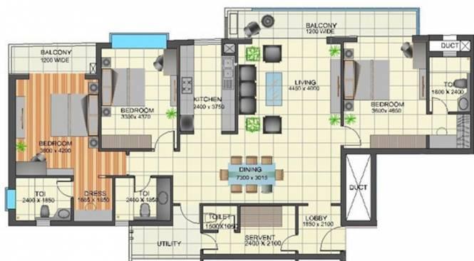 TGB Meghdutam (3BHK+4T (2,250 sq ft) + Servant Room Apartment 2250 sq ft)