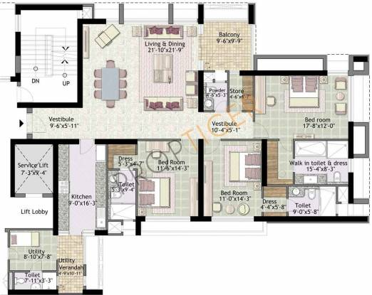 Jaypee The Imperial Court (3BHK+4T (2,539 sq ft)   Servant Room Apartment 2539 sq ft)