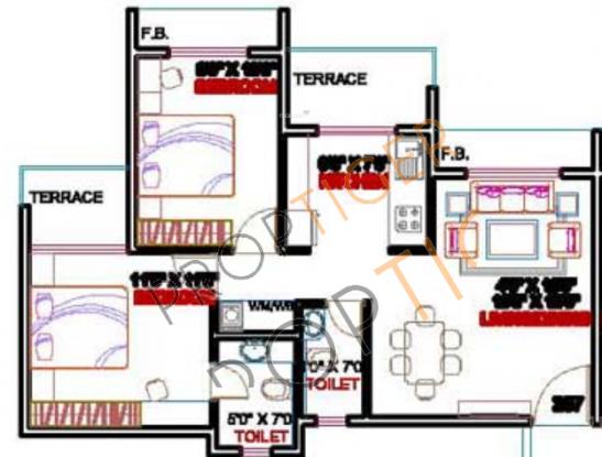 Arihant Abhilasha (2BHK+2T (1,070 sq ft) Apartment 1070 sq ft)