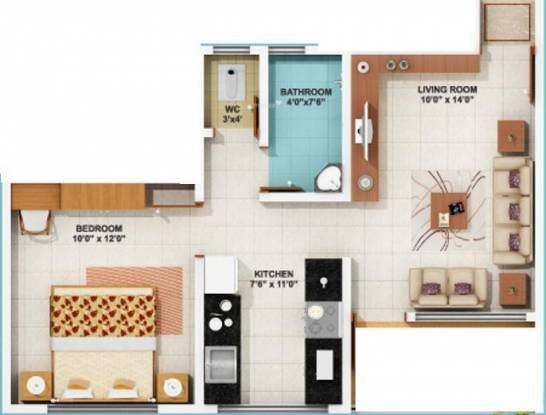 Kolte Patil Umang Homes Phase 1 (1BHK+1T (561 sq ft) Apartment 561 sq ft)