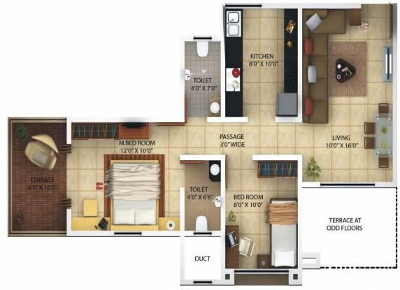 Kolte Patil Margosa Heights (2BHK+2T (785 sq ft) Apartment 785 sq ft)