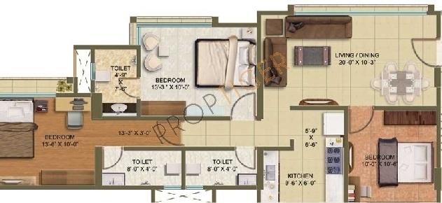 Hicons Aura (3BHK+3T (1,350 sq ft) Apartment 1350 sq ft)