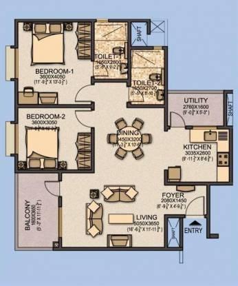 Sobha Aspire (2BHK+2T (1,251 sq ft) Apartment 1251 sq ft)