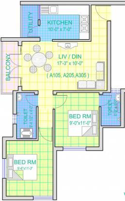 Royal Akarshana (2BHK+2T (906 sq ft) Apartment 906 sq ft)