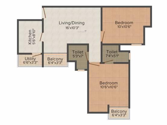 Paras Seasons (2BHK+2T (985 sq ft) Apartment 985 sq ft)
