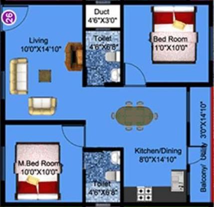 DS DSMAX SPLENDOR (2BHK+2T (904 sq ft) Apartment 904 sq ft)