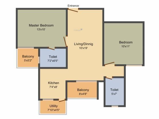 Daadys Elixir (2BHK+2T (890 sq ft) Apartment 890 sq ft)
