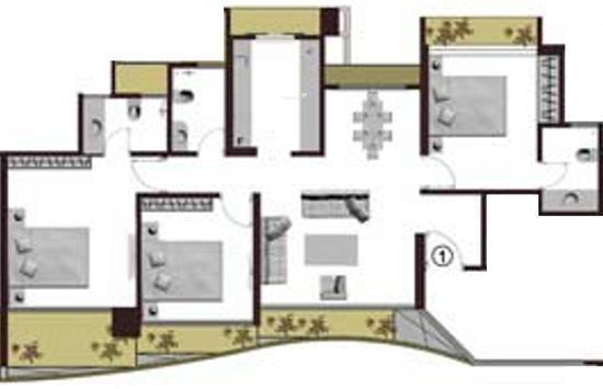 Adhiraj Cyprees Aqua (3BHK+3T (1,541 sq ft) Apartment 1541 sq ft)