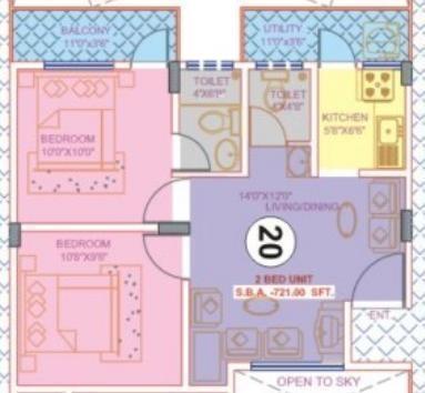 Nisarga Keerthana (2BHK+2T (721 sq ft) Apartment 721 sq ft)