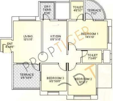 Sanjeevani Ashtagandh II (3BHK+2T (1,089 sq ft) Apartment 1089 sq ft)