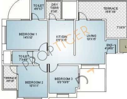 Sanjeevani Ashtagandh II (3BHK+2T (1,151 sq ft) Apartment 1151 sq ft)