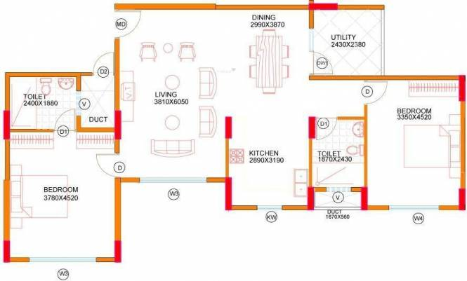 Concorde Midway City (2BHK+2T (1,310 sq ft) Apartment 1310 sq ft)
