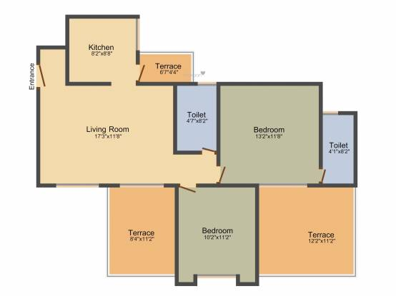 Unique Blliss (2BHK+2T (1,185 sq ft) Apartment 1185 sq ft)