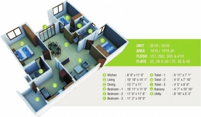 Mahaveer Laurel (3BHK+3T (1,416 sq ft) Apartment 1416 sq ft)