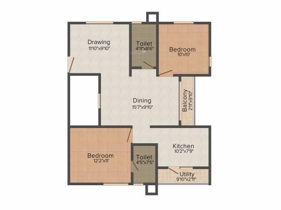 Mahaveer Rhyolite (2BHK+2T (1,088 sq ft) Apartment 1088 sq ft)