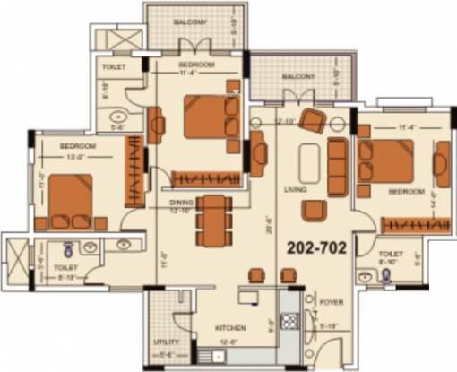Skyline RK Atlantis (3BHK+3T (1,661 sq ft) Apartment 1661 sq ft)