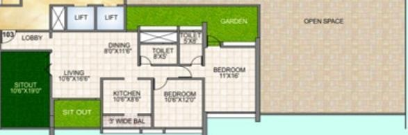 Amit Sapphire Park (2BHK+2T (940 sq ft) Apartment 940 sq ft)