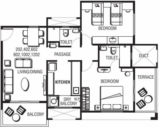 Pride Aloma County (2BHK+2T (1,181 sq ft) Apartment 1181 sq ft)