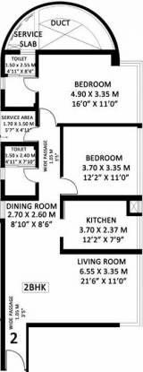 Godrej Platinum (2BHK+2T (843 sq ft) Apartment 843 sq ft)
