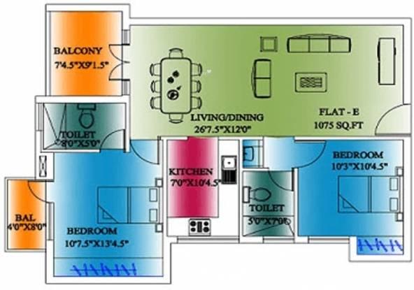 CeeDeeYes Pattinam (2BHK+2T (1,075 sq ft) Apartment 1075 sq ft)