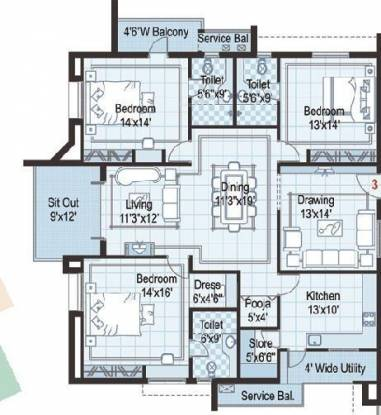 Ramky Towers (3BHK+3T (2,040 sq ft)   Pooja Room Apartment 2040 sq ft)