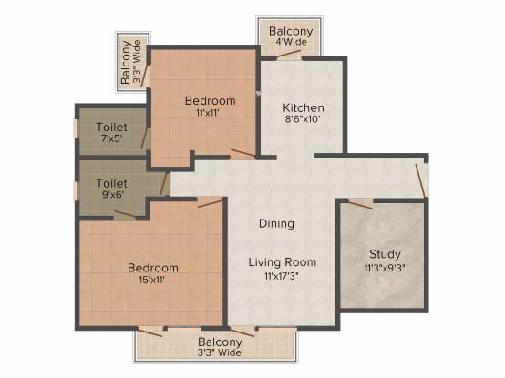 Omaxe Residency (2BHK+2T (1,250 sq ft) + Study Room Apartment 1250 sq ft)