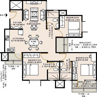 Sobha Iris (3BHK+3T (1,586 sq ft) Apartment 1586 sq ft)
