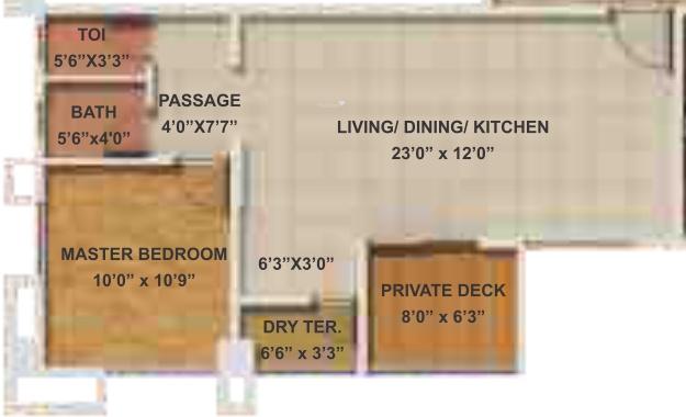 Geras Park View (1BHK+1T (682 sq ft) Apartment 682 sq ft)