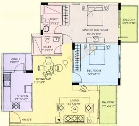 NCC Nagarjuna Green Woods (2BHK+2T (1,200 sq ft) Apartment 1200 sq ft)