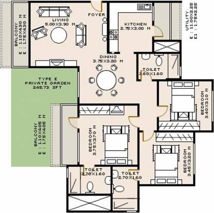 Sobha Rose (3BHK+3T (1,720 sq ft) Apartment 1720 sq ft)