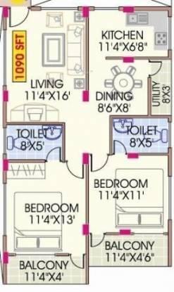 Mahaveer Dazzle (2BHK+2T (1,090 sq ft) Apartment 1090 sq ft)