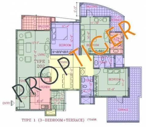 NCC Nagarjuna Green Ridge (2BHK+2T (1,141 sq ft) Apartment 1141 sq ft)
