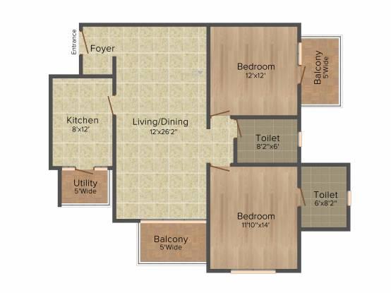 Salarpuria Sattva Serenity (2BHK+2T (1,342 sq ft) Apartment 1342 sq ft)