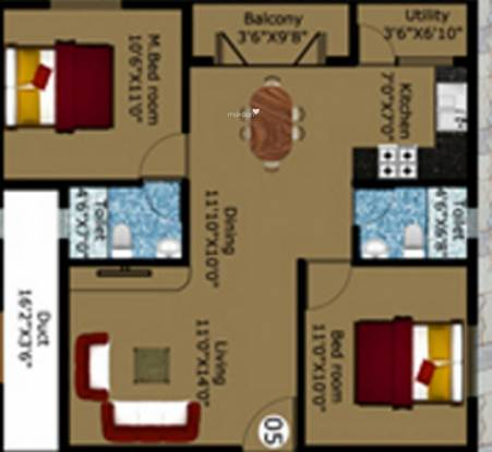 DS DSMAX STARLET (2BHK+2T (1,100 sq ft) Apartment 1100 sq ft)