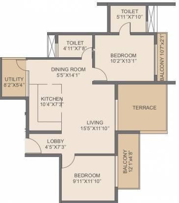 Rohan Jharoka Phase 2 (2BHK+2T (1,210 sq ft) Apartment 1210 sq ft)